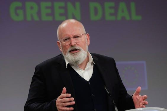Eurocommissaris Frans Timmermans tijdens de presentatie van de nieuwe klimaatmaatregelen deze woensdag in Brussel.