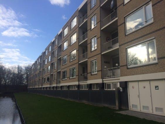 Het appartementencomplex in Rozenburg wordt mede verwarmd door groene waterstof. Waterstof ontlast de centrale gasketel van het gebouw met dertig appartementen.