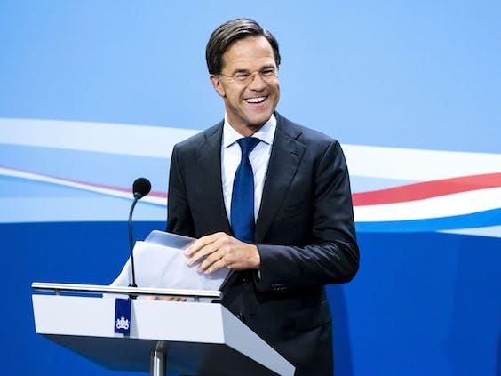 Premier Mark Rutte deze vrijdag tijdens zijn persconferentie na de wekelijkse ministerraad.