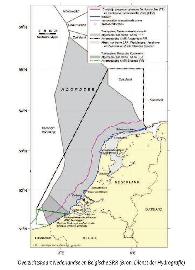 Het verschil tussen de grenzen van de EEZ en het luchtruim. Bron: Dienst der Hydrografie