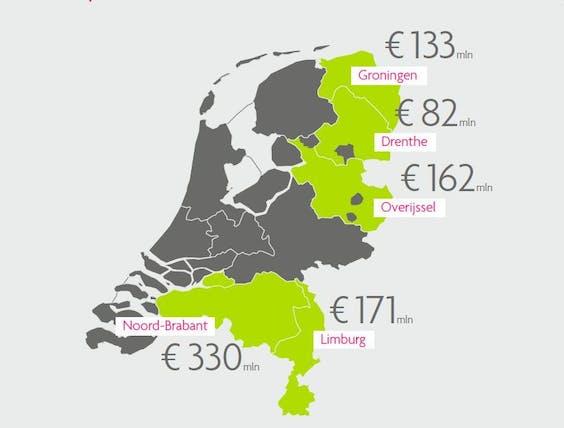 Geplande investeringen in 2020 per provincie.