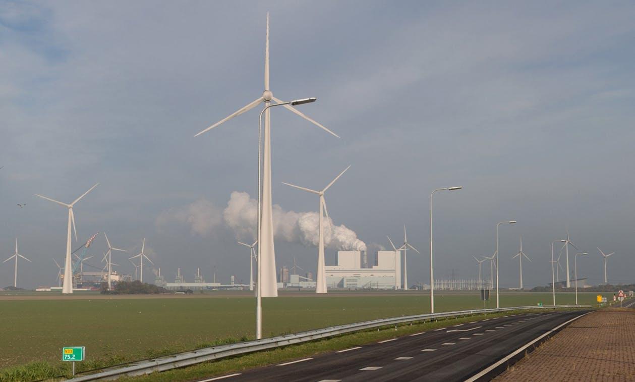 Visualisatie van windpark Oostpolder, vanuit het zuidoosten richting Eemshaven.