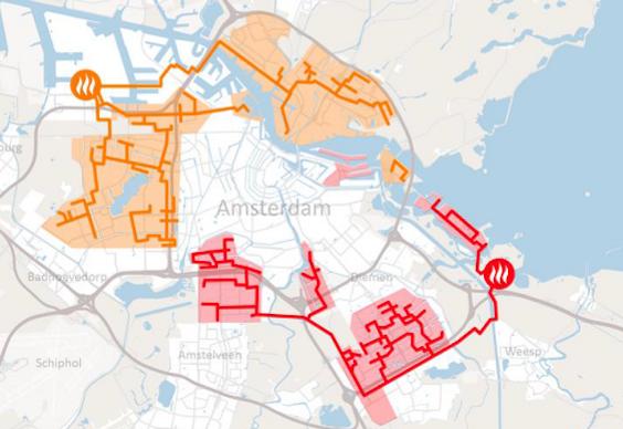 Het warmtenet van de gemeente Amsterdam is opgedeeld in twee delen. Het oranje gedeelte is van Westpoort Warmte, een joint venture tussen af